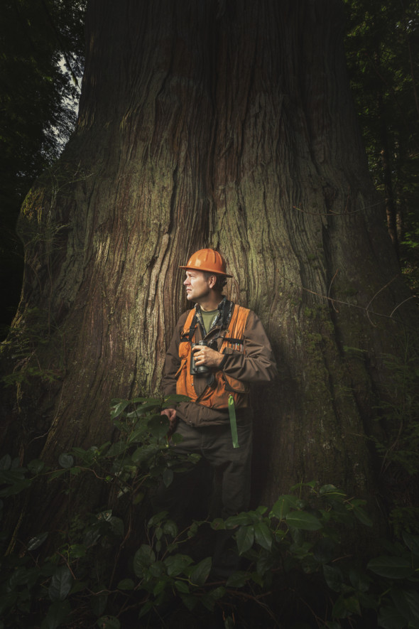 Tom Kollasch in old growth forest and with big cedars at the Ellsworth Creek Preserve, WA on 2/12/15.