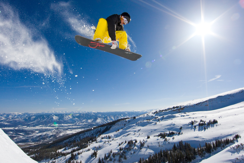 Skiing and snowboarding at Snowmass, Colorado.