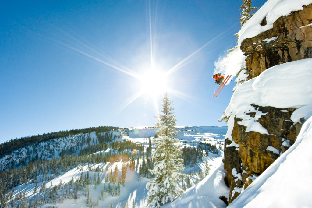 John Nicoletta and Kate Olson skiing powder and jumping cliffs at Snowmass, Aspen/Snowmass, Colorado.