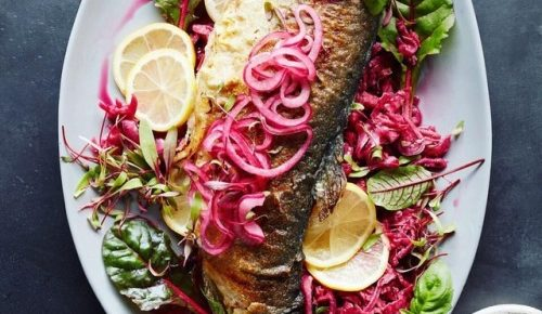 Grilled trout with fermented pickles and kefir. #kefircookbook…
