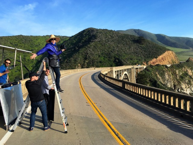 Lori Adamski-Peek shoots for New Balance Women from a great vantage point on California's Highway 1 Bixby Bridge.
